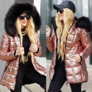 Pink Metallic Fur Trimmed Coat Long Jacket Winter
